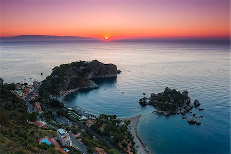 Isola Bella Beach and Isola Bella Island at sunrise, Taormina, Sicily, Italy, Mediterranean, Europe Stock Photo - Rights-Managed, Code: 841-07523272