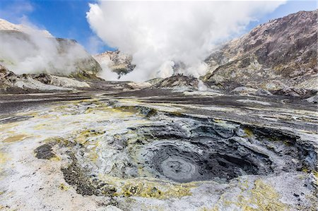 places - Boiling mud at an active andesite stratovolcano on White Island, off the east side of North Island, New Zealand, Pacific Stock Photo - Rights-Managed, Code: 841-07523307