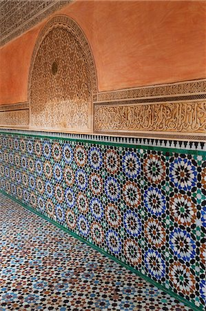 decorative - Traditional Moroccan Zallij tile work in the Ben Youssef Medersa, UNESCO World Heritage Site, Marrakech, Morocco, North Africa, Africa Stock Photo - Rights-Managed, Code: 841-07523950