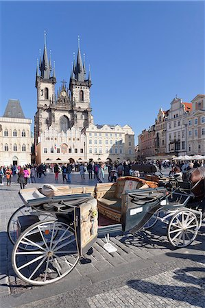Horse carriage at the Old Town Square (Staromestske namesti) with Tyn Cathedral (Church of Our Lady Before Tyn), Prague, Bohemia, Czech Republic, Europe Stock Photo - Rights-Managed, Code: 841-07540375