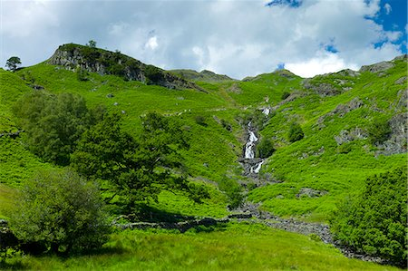 Lakeland countryside and waterfall ghyll at Easedale in the Lake District National Park, Cumbria, UK Stock Photo - Rights-Managed, Code: 841-07540504