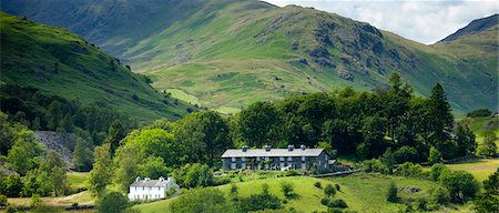 Cottages in Langdale Pass surrounded by Langdale Pikes in the Lake District National Park, Cumbria, UK Stock Photo - Rights-Managed, Code: 841-07540519