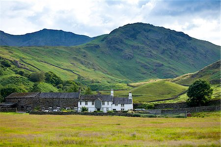 quaint house - Fell Foot Farm in Little Langdale Valley at Langdale Pass surrounded by Langdale Pikes in the Lake District National Park, Cumbria, UK Stock Photo - Rights-Managed, Code: 841-07540511