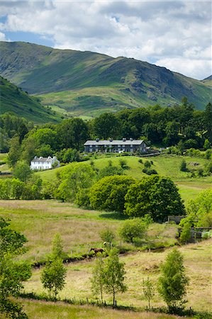 Cottages in Langdale Pass surrounded by Langdale Pikes in the Lake District National Park, Cumbria, UK Stock Photo - Rights-Managed, Code: 841-07540520