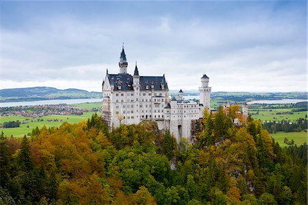 Schloss Neuschwanstein castle, 19th Century Romanesque revival palace of Ludwig II of Bavaria in the Bavarian Alps, Germany Stock Photo - Rights-Managed, Code: 841-07540657