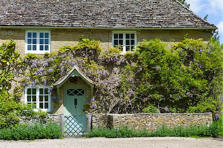 Traditional Cotswold stone wysteria-clad cottage in the quaint village of Eastleach Turville in the Cotswolds, Gloucestershire, UK Stock Photo - Rights-Managed, Code: 841-07540713
