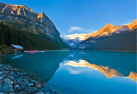 Early morning sunrise, Lake Louise, Banff National Park, UNESCO World Heritage Site, Alberta, Canadian Rockies, Canada, North America Stock Photo - Rights-Managed, Code: 841-07590040