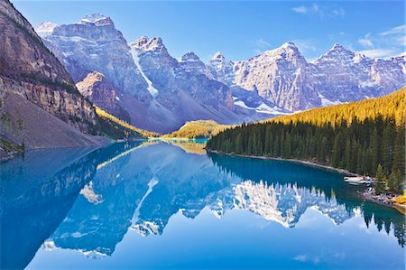snow capped - Moraine Lake reflections in the Valley of the Ten Peaks, Banff National Park, UNESCO World Heritage Site, Alberta, Canadian Rockies, Canada, North America Stock Photo - Rights-Managed, Code: 841-07590041