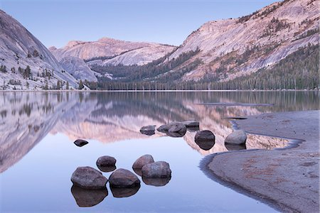 scenic view - Tranquil evening tones at Tenaya Lake, Yosemite National Park, UNESCO World Heritage Site, California, United States of America, North America Stock Photo - Rights-Managed, Code: 841-07590349