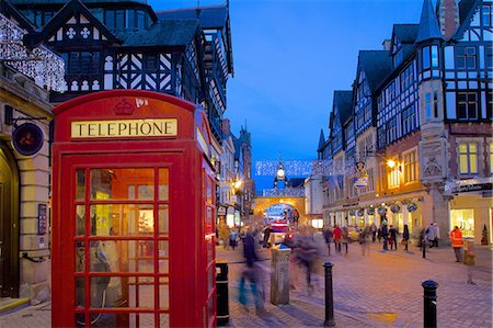 red - East Gate and telephone box at Christmas, Chester, Cheshire, England, United Kingdom, Europe Stock Photo - Rights-Managed, Code: 841-07590521