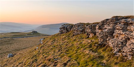 panoramic winter scene - Looking towards Conistone Pie and Hawkswick Moor on a late winter afternoon in Wharfedale, North Yorkshire, Yorkshire, England, United Kingdom, Europe Stock Photo - Rights-Managed, Code: 841-07590542