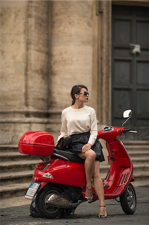 elegant - Young woman waiting by Vespa moped, Piazza del Popolo, Rome, Lazio, Italy, Europe Stock Photo - Rights-Managed, Code: 841-07590559