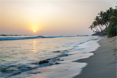 Sunset at the beach, Talpe, Sri Lanka, Indian Ocean, Asia Stock Photo - Rights-Managed, Code: 841-07600061