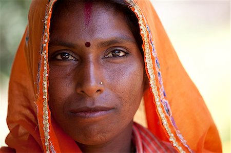 Indian woman villager at farm smallholding at Sawai Madhopur near Ranthambore in Rajasthan, Northern India Stock Photo - Rights-Managed, Code: 841-07600095