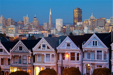 Victorian houses (Painted Ladies) and Financial District,  Alamo Square, San Francisco, California, United States of America, North America Stock Photo - Rights-Managed, Code: 841-07653114