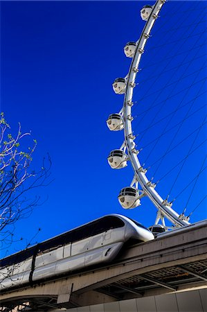 High Roller Observation Wheel section and monorail, LINQ Development, Las Vegas, Nevada, United States of America, North America Stock Photo - Rights-Managed, Code: 841-07653159