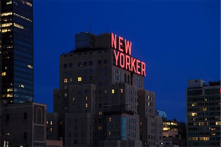 New Yorker Hotel at dusk, Midtown, West Side, Manhattan, New York City, United States of America, North America Stock Photo - Rights-Managed, Code: 841-07653378