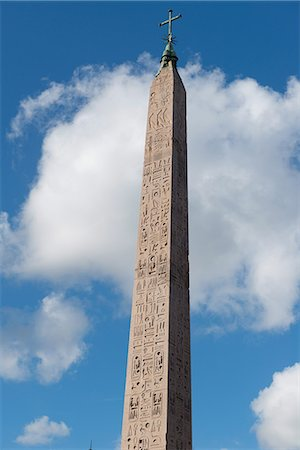 egyptian hieroglyphics - The Egyptian obelisk in the middle of Piazza del Popolo, Rome, Lazio, Italy, Europe Stock Photo - Rights-Managed, Code: 841-07653441