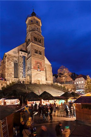 places - Christmas fair, St. Michael Church, market place, Schwaebisch Hall, Hohenlohe, Baden Wurttemberg, Germany, Europe Stock Photo - Rights-Managed, Code: 841-07673343