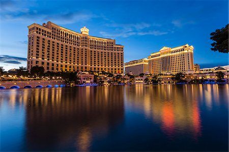 Bellagio and Caesars Palace reflections at dusk, The Strip, Las Vegas, Nevada, United States of America, North America Stock Photo - Rights-Managed, Code: 841-07782005