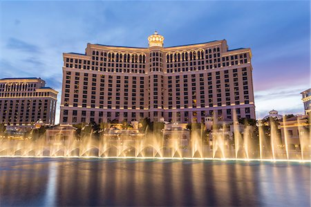 Bellagio at dusk with fountains, The Strip, Las Vegas, Nevada, United States of America, North America Stock Photo - Rights-Managed, Code: 841-07782007