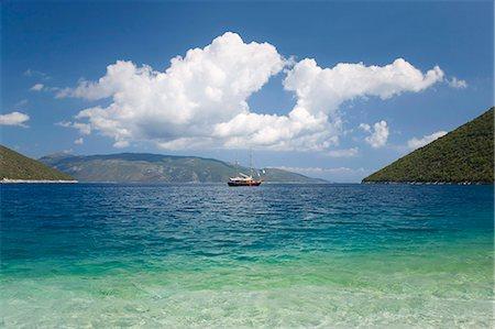 View across Antisamos Bay, Sami, Kefalonia (Kefallonia, Cephalonia), Ionian Islands, Greek Islands, Greece, Europe Stock Photo - Rights-Managed, Code: 841-07782175