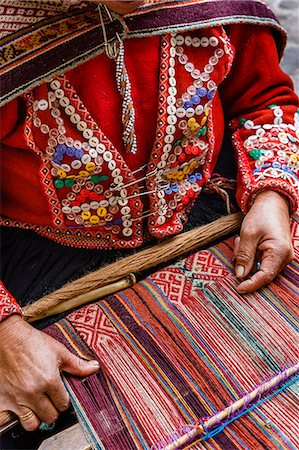peru and culture - Quechua woman weaving a traditional textile, Cuzco, Peru, South America Stock Photo - Rights-Managed, Code: 841-07782368