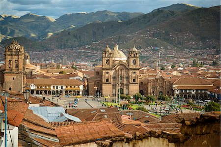 peru and culture - Elevated view over Cuzco and Plaza de Armas, Cuzco, UNESCO World Heritage Site, Peru, South America Stock Photo - Rights-Managed, Code: 841-07782377