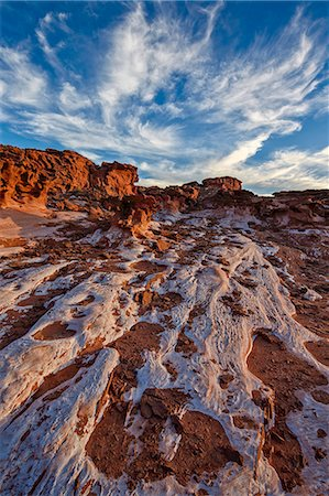 Red sandstone covered with salt, Gold Butte, Nevada, United States of America, North America Stock Photo - Rights-Managed, Code: 841-07782410