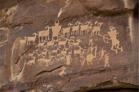 prehistoric - The Great Hunt Panel, Fremont style petroglyphs from AD 700 to AD 1200, Cottonwood Canyon near the junction of Nine Mile Canyon, Utah, United States of America, North America Stock Photo - Rights-Managed, Code: 841-07782643