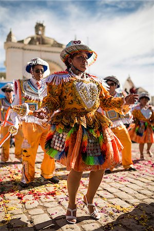 south american woman - Dancers in traditional costume, Fiesta de la Virgen de la Candelaria, Copacabana, Lake Titicaca, Bolivia, South America Stock Photo - Rights-Managed, Code: 841-07783115