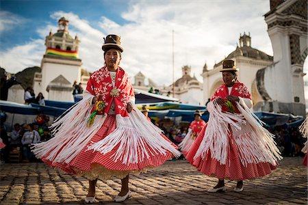 south american woman - Dancers in traditional costume, Fiesta de la Virgen de la Candelaria, Copacabana, Lake Titicaca, Bolivia, South America Stock Photo - Rights-Managed, Code: 841-07783120
