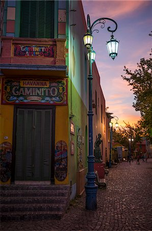 people in argentina - El Caminito at dusk, La Boca, Buenos Aires, Argentina, South America Stock Photo - Rights-Managed, Code: 841-07801621