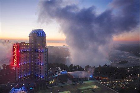 View of Fallsview Casino Resort and The American and Horseshoe Falls, Niagara Falls, Niagara, Ontario, Canada, North America Stock Photo - Rights-Managed, Code: 841-07913644