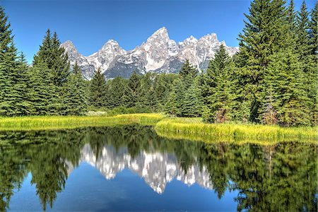 Water reflection of the Teton Range, taken from the end Schwabacher Road, Grand Teton National Park, Wyoming, United States of America, North America Stock Photo - Rights-Managed, Code: 841-07913906