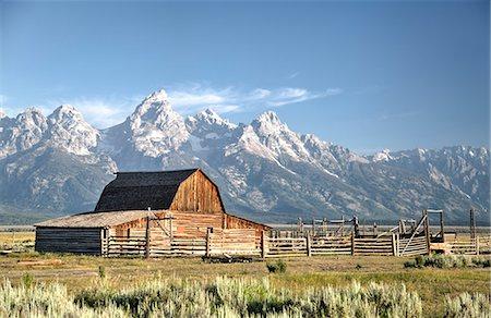 USA, Wyoming, Grand Teton National Park, Mormon Row, dates from 1890's, John Moulton Homestead, Barn Stock Photo - Rights-Managed, Code: 841-07913902