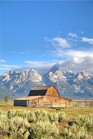 John Moulton Homestead, Barn dating from the 1890s, Mormon Row, Grand Teton National Park, Wyoming, United States of America, North America Stock Photo - Rights-Managed, Code: 841-07913903