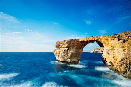 rock - The Azure Window natural arch, Dwerja Bay, Gozo Island, Malta, Mediterranean, Europe Stock Photo - Rights-Managed, Code: 841-08031404