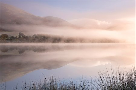Misty morning over Loweswater in autumn in the Lake District National Park, Cumbria, England, United Kingdom, Europe Stock Photo - Rights-Managed, Code: 841-08031478