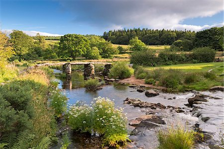 dartmoor national park - Ancient clapper bridge at Postbridge, Dartmoor National Park, Devon, England, United Kingdom, Europe Stock Photo - Rights-Managed, Code: 841-08031497