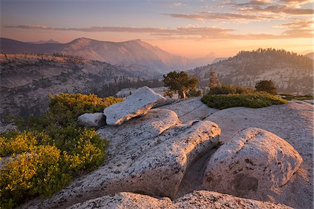 scenic - View towards Half Dome at sunset, from Olmsted Point, Yosemite National Park, UNESCO World Heritage Site, California, United States of America, North America Stock Photo - Rights-Managed, Code: 841-08031518