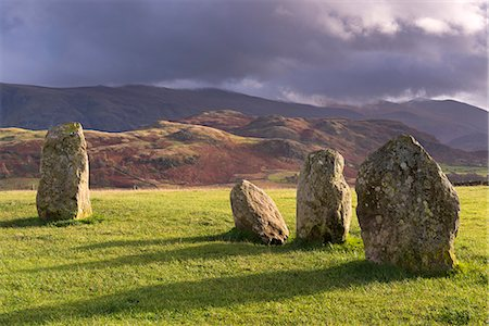 prehistoric - Megalithic standing stones forming part of Castlerigg Stone Circle, Lake District, Cumbria, England, United Kingdom, Europe Stock Photo - Rights-Managed, Code: 841-08031525