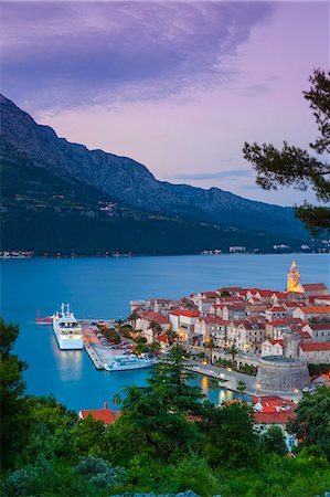 quaint - Elevated view over Korcula's picturesque Stari Grad (Old Town) illuminated at dusk, Korcula Town, Korcula, Dalmatia, Croatia, Europe Stock Photo - Rights-Managed, Code: 841-08059386