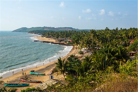 View over Anjuna beach, Goa, India, Asia Stock Photo - Rights-Managed, Code: 841-08059516