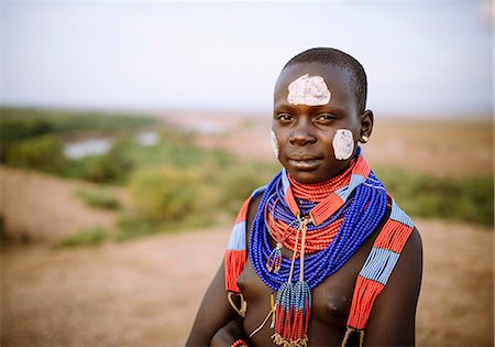 Portrait of Warsha, Kara Tribe, Korcho Village, Omo Valley, Ethiopia, Africa Stock Photo - Rights-Managed, Code: 841-08059656