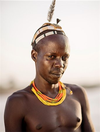 Portrait of Tuta by the Omo River, Dassanech Tribe, Rate Village, Omorate, Omo Valley, Ethiopia, Africa Stock Photo - Rights-Managed, Code: 841-08059650