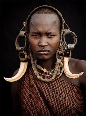 Portrait of Ntorol, Mursi Tribe, Chamolo Village, Omo Valley, Ethiopia, Africa Stock Photo - Rights-Managed, Code: 841-08059660