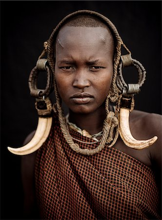 Portrait of Ntorol, Mursi Tribe, Chamolo Village, Omo Valley, Ethiopia, Africa Stock Photo - Rights-Managed, Code: 841-08059660