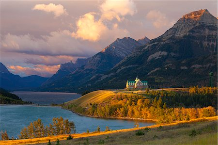 The Prince of Wales Hotel at Sunrise, Waterton Lakes National Park, Alberta, Canada, North America Stock Photo - Rights-Managed, Code: 841-08101723