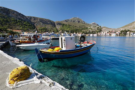 View of harbour, Kastellorizo (Meis), Dodecanese, Greek Islands, Greece, Europe Stock Photo - Rights-Managed, Code: 841-08102205
